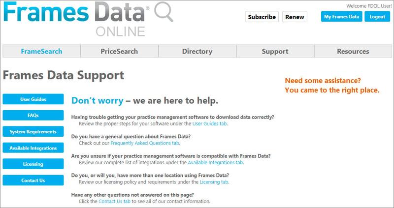 Support screenshot