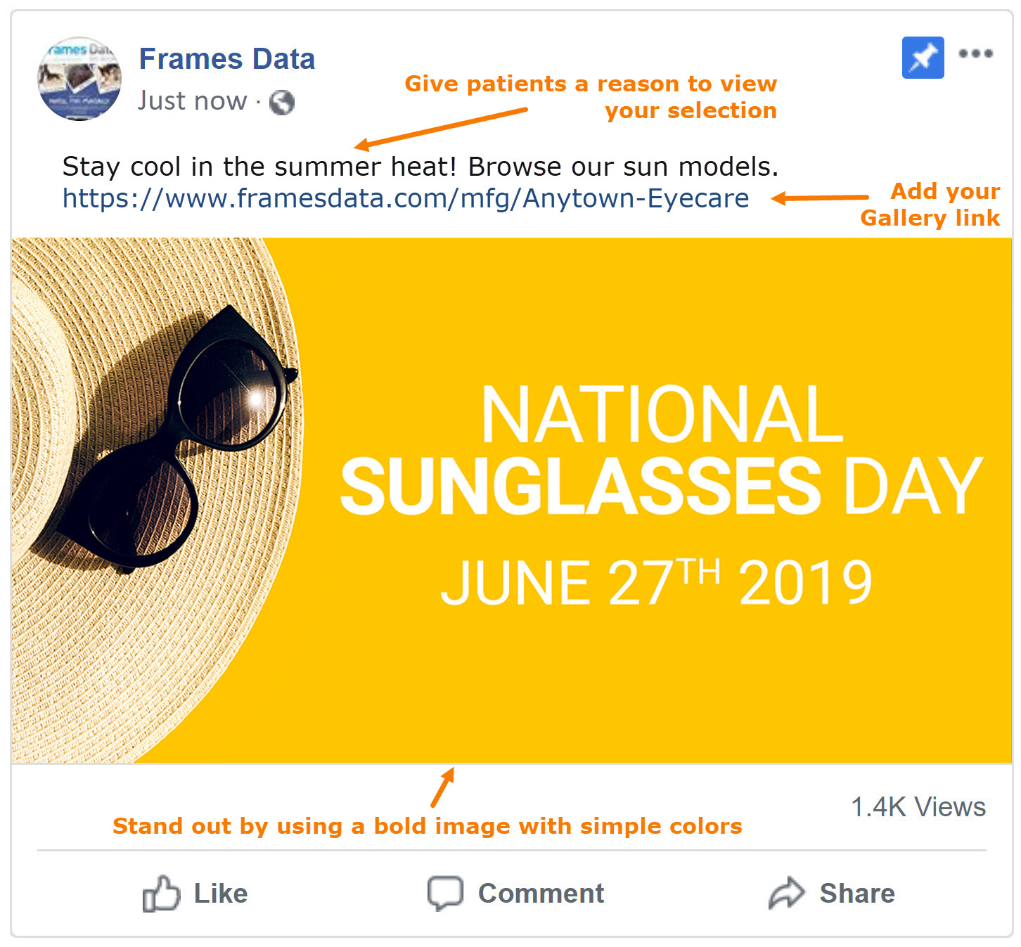 Free National Sunglasses Day Social Media Toolkit for Frame Galleries
