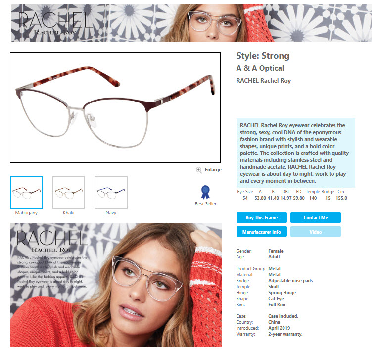 Featured Brand on Frames Data: RACHEL Rachel Roy by A & A Optical